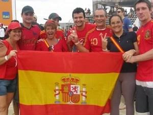 Torcedores espanhóis - Fifa Fan Fest (Foto: Tássia Thum / G1)