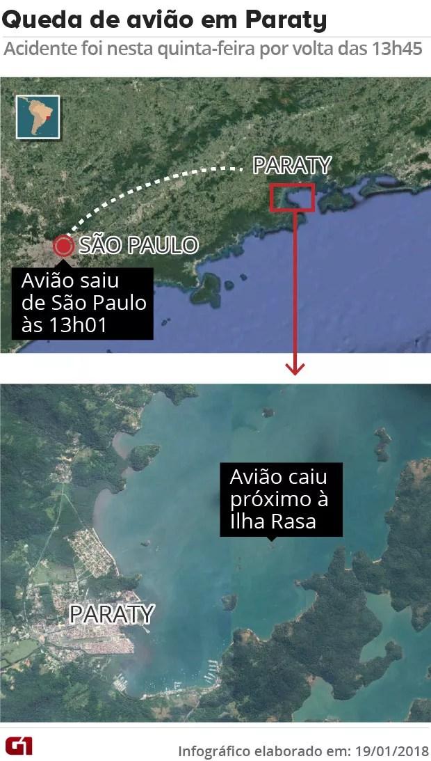 Mapa acidente Paraty (Foto: Arte/G1)