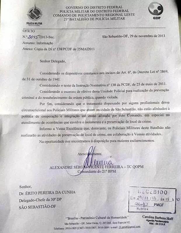 Cópia do ofício encaminhado pela PM à 30ª DP, em São Sebastião (Foto: G1 / Reprodução)