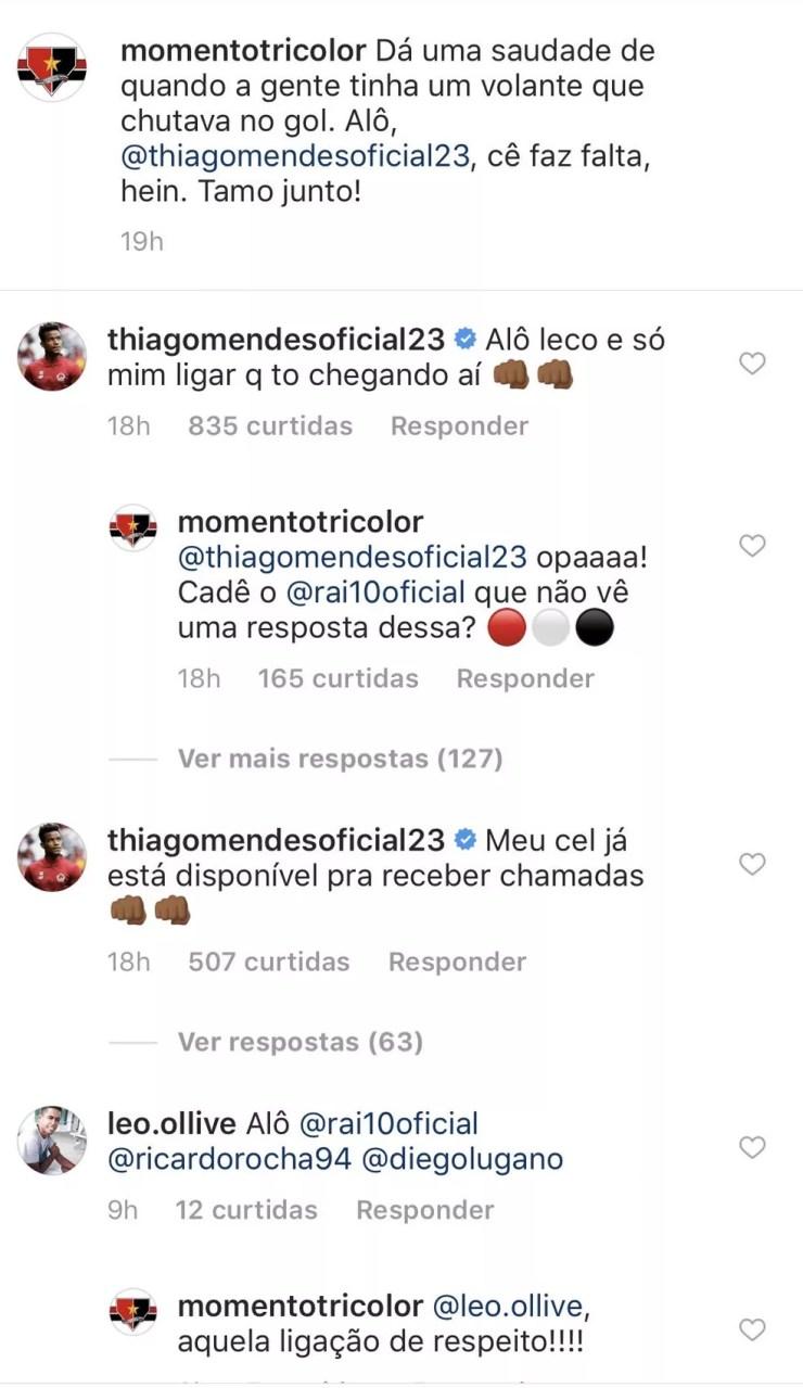 Comentário de Thiago Mendes agita são-paulinos nas redes sociais — Foto: Reprodução