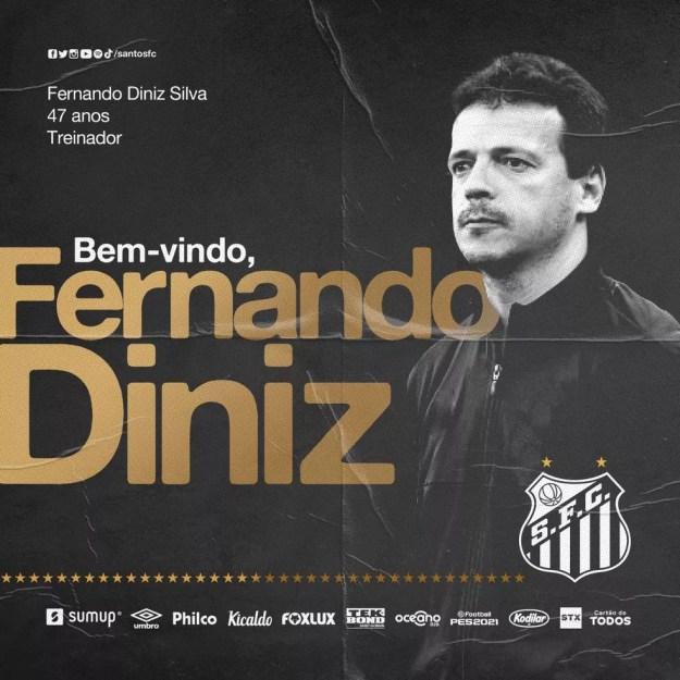 Fernando Diniz é o novo técnico do Santos — Foto: Divulgação/Santos FC