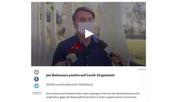"""""""Há meses desafiando seu destino, agora Jair Bolsonaro foi atingido: o presidente brasileiro está infectado com o coronavírus"""", disse alemão Süddeutsche Zeitung — Foto: Reprodução/Süddeutsche Zeitung"""