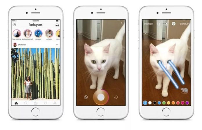 Telas do Instagram mostram o modo stories do app (Foto: Divulgação/Instagram)