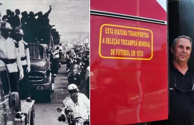 Desfile da seleção campeã de 1970, no México, em caminhão dos bombeiros, que ganhou inscrição para registrar o fato (Foto: Tony Winston/Agência Brasília)