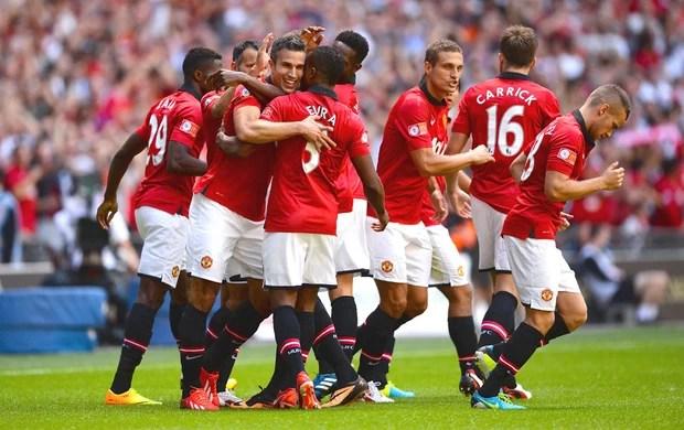 Van Persie comemora gol do Manchester United contra o Wigan (Foto: Getty Images)