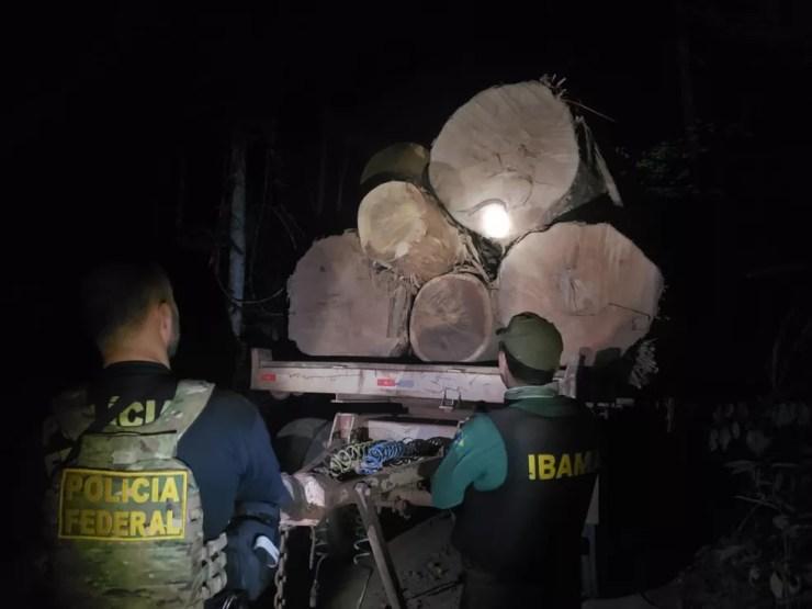 Maquinários e caminhões foram apreendidos na terra indígena Roosevelt, em Rondônia. — Foto: PF/Divulgação
