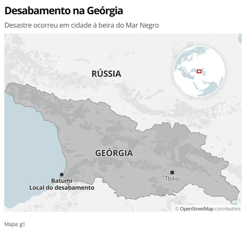 MAPA - Desabamento na Geórgia — Foto: g1