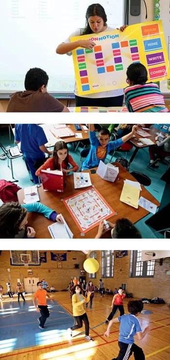 O currículo não se resume a jogos eletrônicos. Há jogos de cartas e de tabuleiro, brincadeiras criadas pelos próprios alunos e representações teatrais. Também a educação física é estruturada como uma série de competições (Foto: Divulgação)