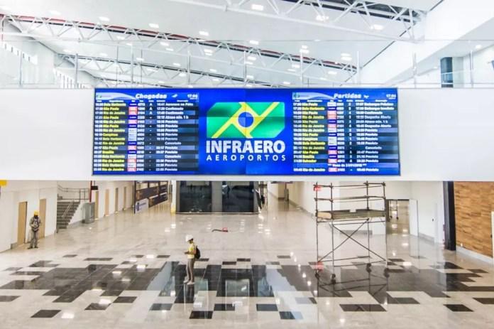 Novo terminal de passageiros do aeroporto de Vitória é maior que o antigo. Foto da fase final das obras, em janeiro (Foto: Leonardo Silveira/ Arquivo Prefeitura de Vitória)