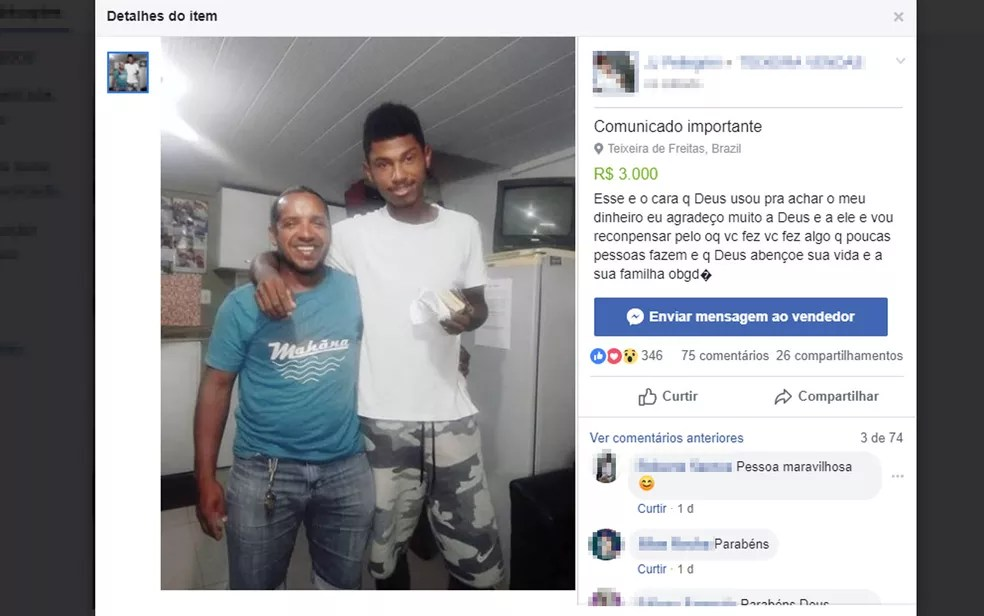 Arnaldo devolveu envelope com dinheiro a Juliano, de branco  — Foto: Reprodução/Facebook