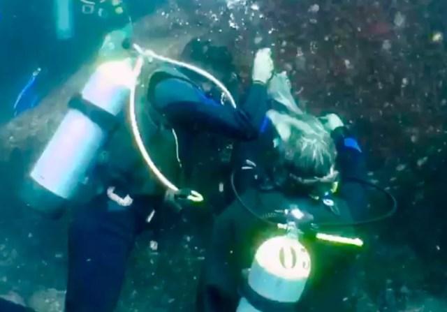 Pesquisadores mergulham e retiram coral-sol de Calhaus — Foto: Mariane Rossi/G1