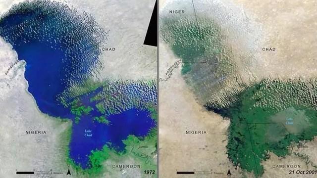Mapa mostra a mudança no lago Chade entre 1972 e 2001 (Foto: Unep)