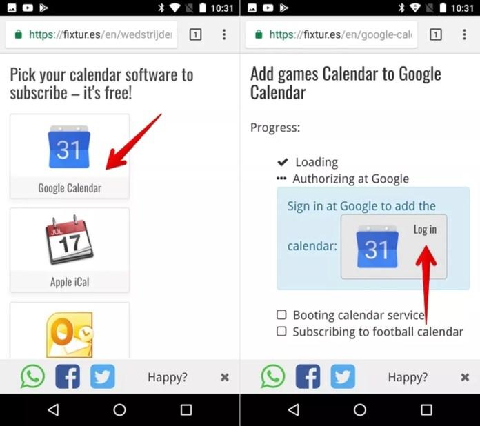 Adicionando calendário ao Google Agenda (Foto: Reprodução/Helito Bijora)