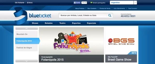 O site BlueTicket possui programações para o Brasil e até para fora dele, como na Argentina (Reprodução/ Gabriella Fiszman)