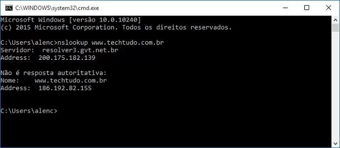 Checando o endereço IP do TechTudo (Foto: Felipe Alencar/TechTudo)