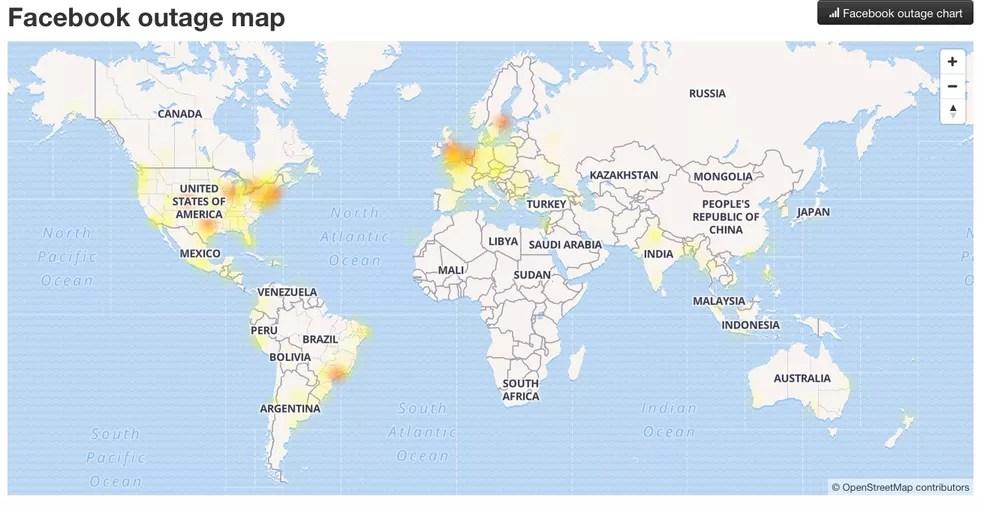 Facebook tem instabilidade no Brasil e em outros países — Foto: Reprodução/Outage ReportDown Detector