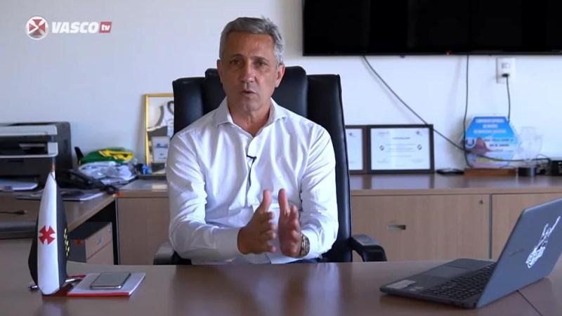 Campello fez pronunciamento à Vasco TV — Foto: Reprodução