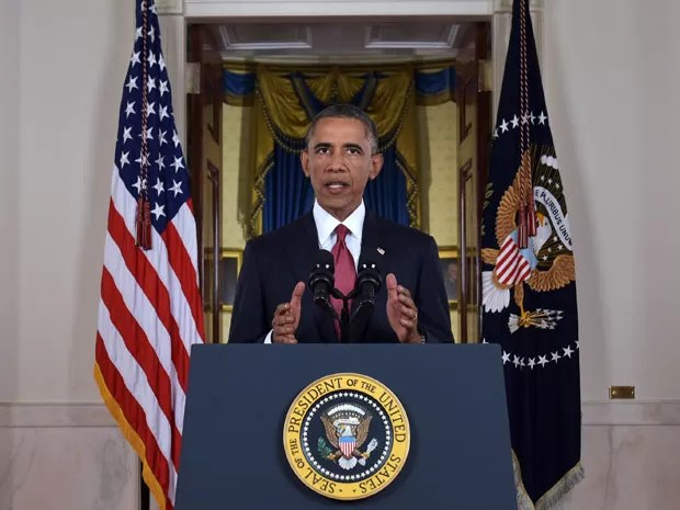 O presidente dos EUA, Barack Obama, durante pronunciamento sobre o Estado Islâmico na noite de quarta-feira (10) (Foto: AFP Photo/Pool/Saul Loeb)