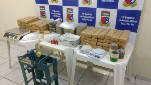 Polícia apreendeu quase 90 quilos de droga em Assu (Foto: Divulgação/PM)