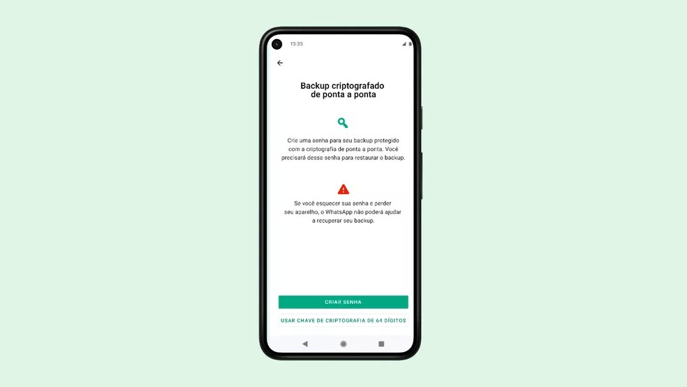 Tela mostra opção de backup com criptografia no WhatsApp — Foto: Divulgação