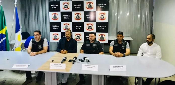 Polícia Civil falou sobre o caso durante coletiva — Foto: Wilton Dias/TV Anhanguera