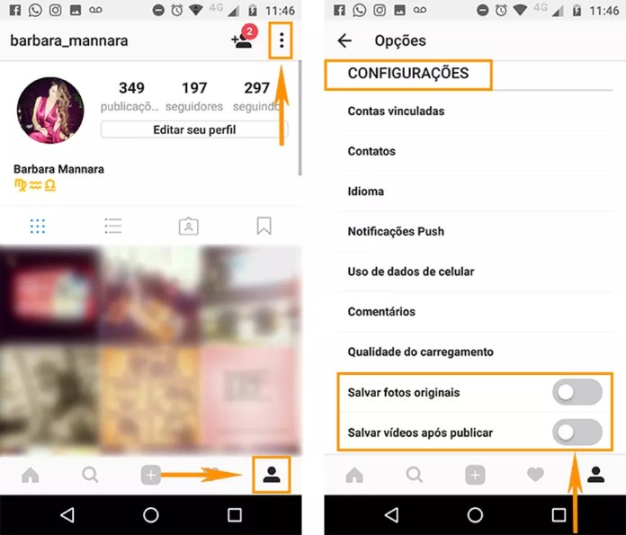 Abra as configurações do seu perfil no Instagram e desative o download automático de fotos e vídeos (Foto: Foto: Reprodução/Barbara Mannara)