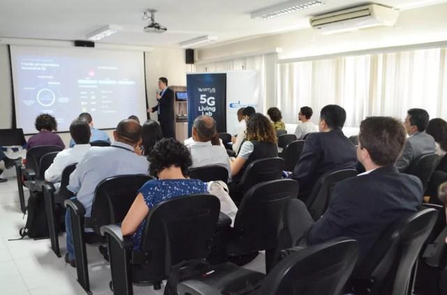Lançamento do primeiro laboratório 5G do Nordeste aconteceu nesta quinta-feira (17), na sede do Núcleo Virtus/UFCG, em Campina Grande — Foto: Érica Ribeiro/G1