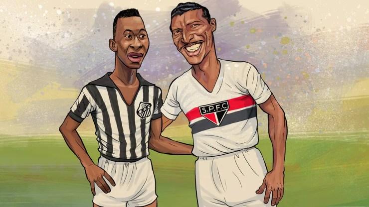 Zizinho e Pelé em arte de Mario Alberto — Foto: Mario Alberto / ge