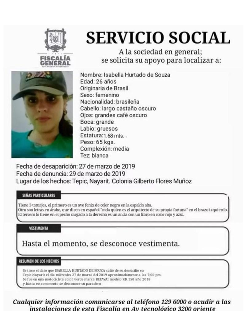 Isabella desapareceu no dia 27 de março em Tepic — Foto: Reprodução/internet