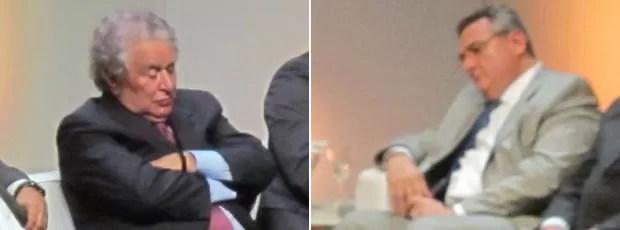 Juvenal Juvêncio e Mario Gobbi dormem durante evento em São Paulo (Foto: Leandro Canônico)
