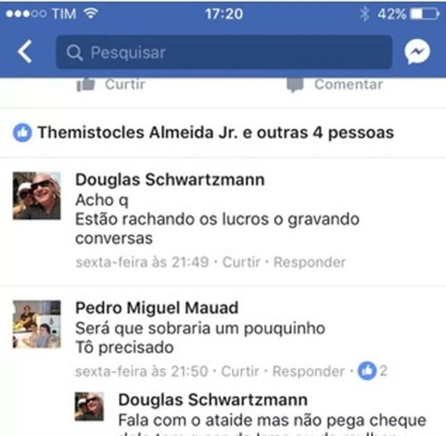 Troca de mensagens entre Pedro Mauad e Douglas Schwartzmann (Foto: Reprodução)