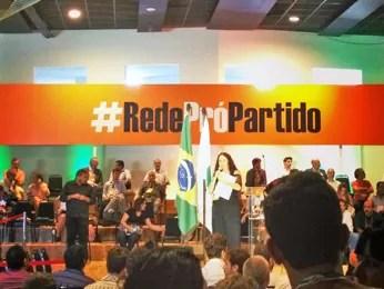Apoiadores do novo partido participam de cerimônia de lançamento da legenda (Foto: Iara Lemos/ G1)