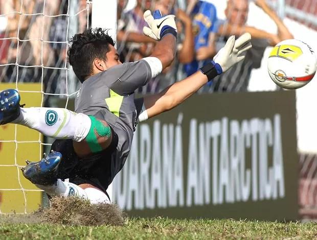 Paulinho goleiro do Goiás defendendo pênalti contra o Bahia (Foto: Marcos Bezerra / Ag. Estado)