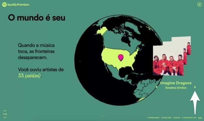 Indicação dos países dos artistas reproduzidos no Spotify em 2019 — Foto: Reprodução/Marvin Costa