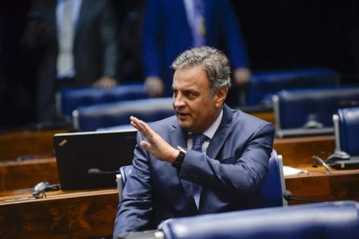 Senador Aécio Neves no plenário do Senado (Foto: Jefferson Rudy / Agência Senado)