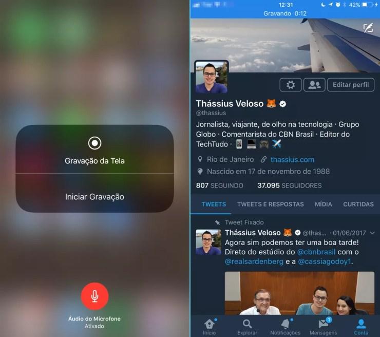Gravação da tela, com vídeo e áudio, no iOS 11 (Foto: Thássius Veloso/TechTudo)