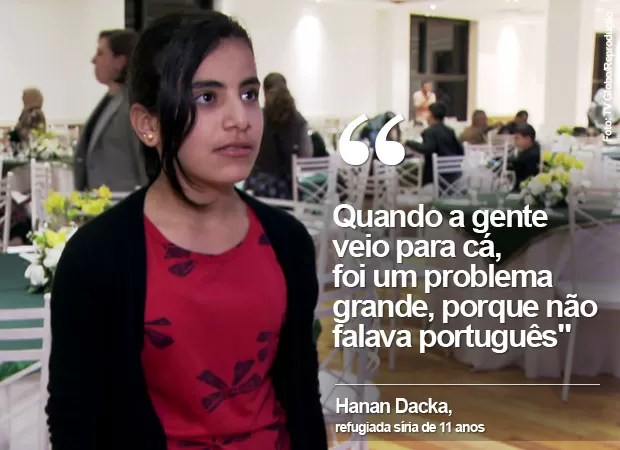Hanan Dacka, de 11 anos, refugiada síria se forma em português (Foto: TV Globo/Reprodução)