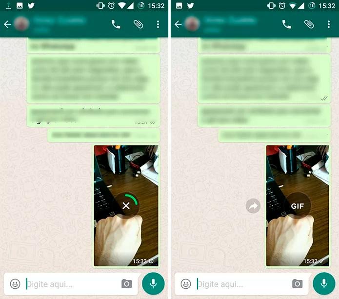 Vídeo será enviado para contato no WhatsApp em formato de GIF (Foto: Reprodução/Elson de Souza)