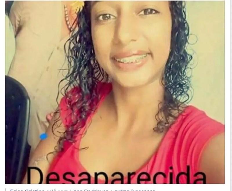 Débora estava desaparecida e parentes postaram mensagens na tentativa de encontrá-la (Foto: Facebook/ Reprodução)