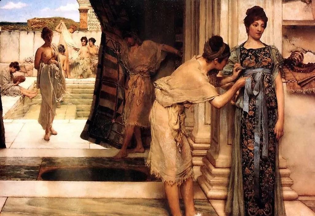 Pintura retrata mulheres romanas tomando banho (Foto: Wikimedia Commons)