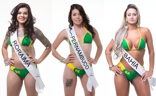 Isadora Santos, Miss Bumbum Roraima / Débora Bidinur, Miss Bumbum Pernambuco / Raquel Castro, Miss Bumbum Bahia (Foto: MBB / Divulgação)