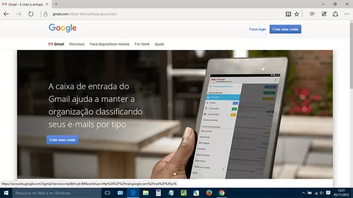 Acesse o Gmail.com de qualquer navegador. Não precisa ser o Chrome (Reprodução)