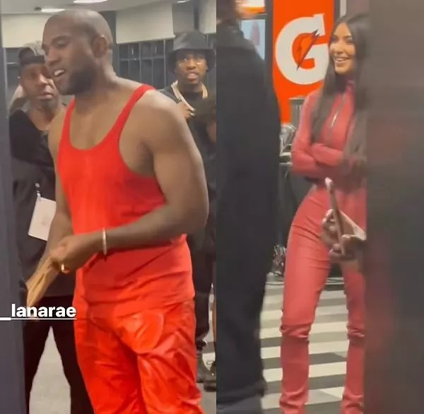 Kanye West and Kim Kardashian with matching looks during the rapper's album launch event (Photo: Instagram)