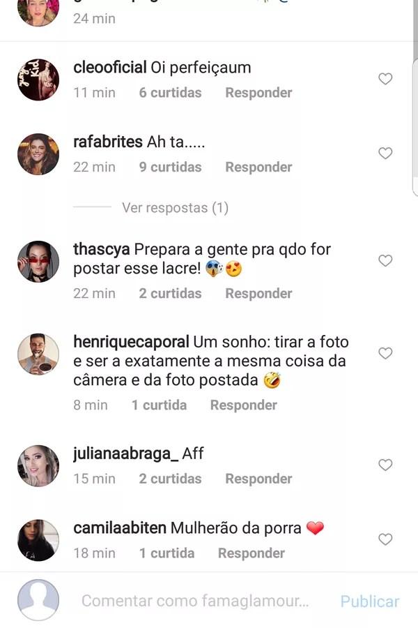 Pugli recebeu comentários de famosas! (Foto: Instagram/Reprodução)