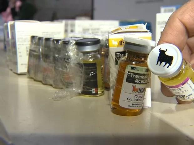 Remédio de aplicação em animais eram vendidos para atletas, no ES (Foto: Reprodução/ TV Gazeta)