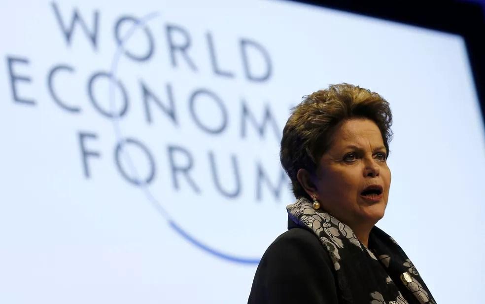 Dilma Rousseff durante participação no Fórum Econômico Mundial, em Davos, na Suíça — Foto: Denis Balibouse/Reuters