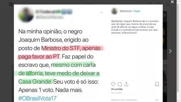 Postagem com menção desrespeitosa a Joaquim Barbosa foi feita no Instagram do policial — Foto: Reprodução/Instagram
