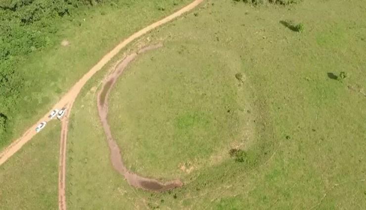 Novos geoglifos são encontrados em área de floresta na Reserva Extrativista Chico Mendes, no Acre (Foto: Reprodução/Rede Amazônica Acre)