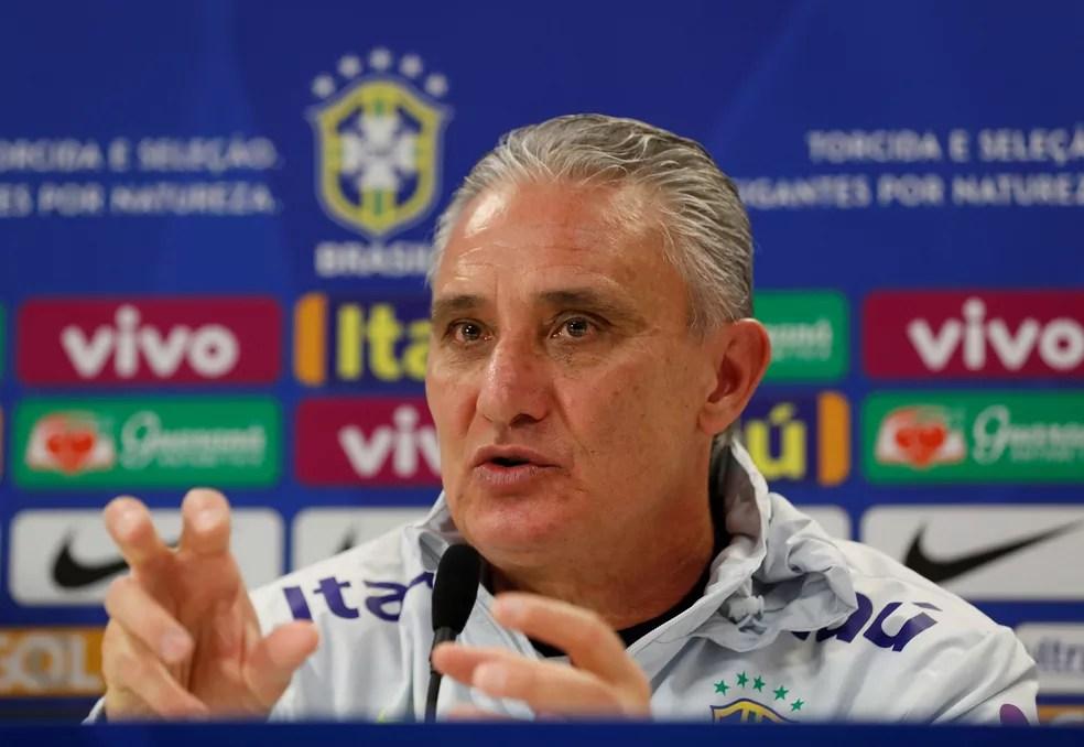 Tite em entrevista coletiva da seleção brasileira — Foto: Reuters