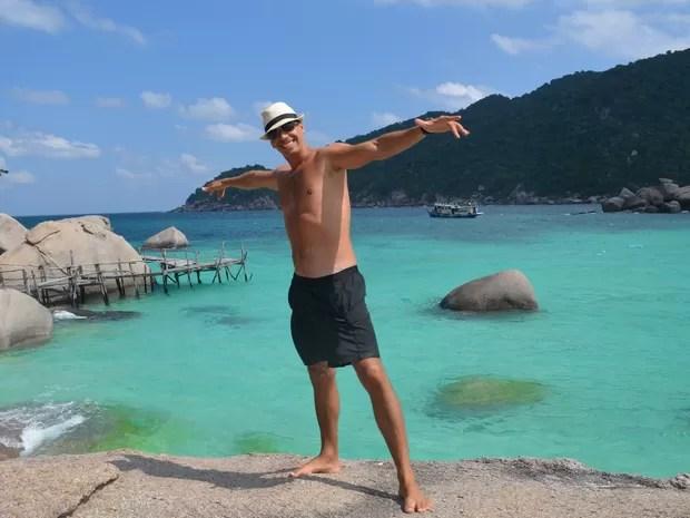 Igor Galli visitou o mar da Tailândia durante sua viagem pelo mundo, Goiânia, Goiás (Foto: Arquivo Pessoal/Igor Galli)